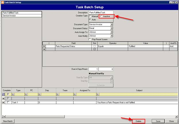 Task Batch Setup Inactive and Delete - Sys2K Dealership Software