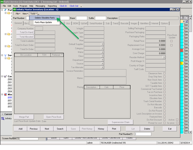Delete obsolete parts sys2k dealership software if an obsolete part has a total on order allocated and on hand all equal to zero the part will be marked as deleted ccuart Choice Image